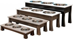 pet food and water dish with triple bowls